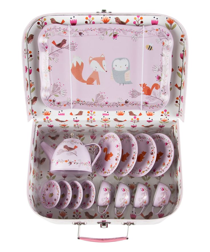 Pink Woodland Friends Picnic Box Tea Set