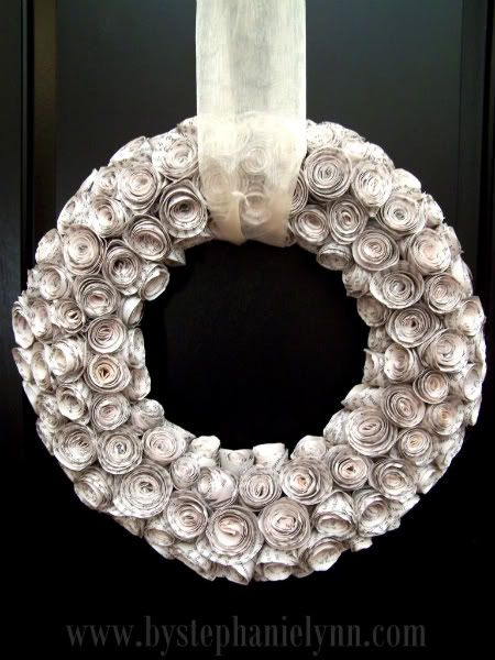 DIY Faux Curled Rosewood Wreath {Made From Rolled Recycled Book Pages} - bystephanielynn