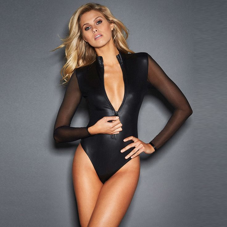 Women sexy Solid Black lace mesh long sleeve faux leather bodysuit catsuit hot girl bodycon bandage jumpsuit playsuit club wear