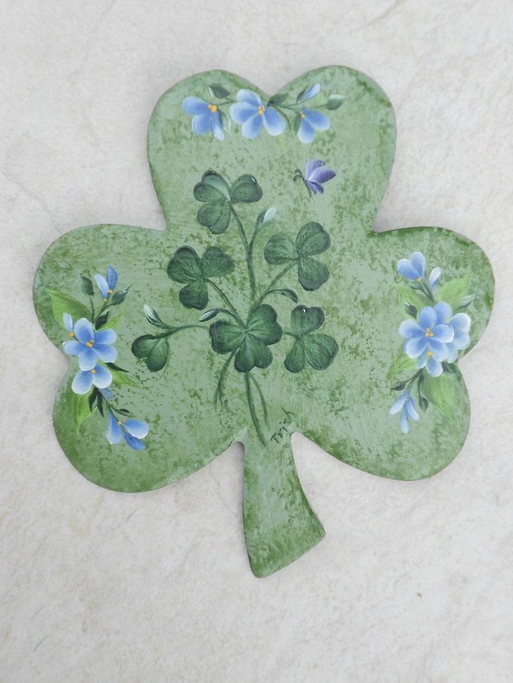 Shamrock Shaped Wall Plaque Hnad Painted Irish Clover