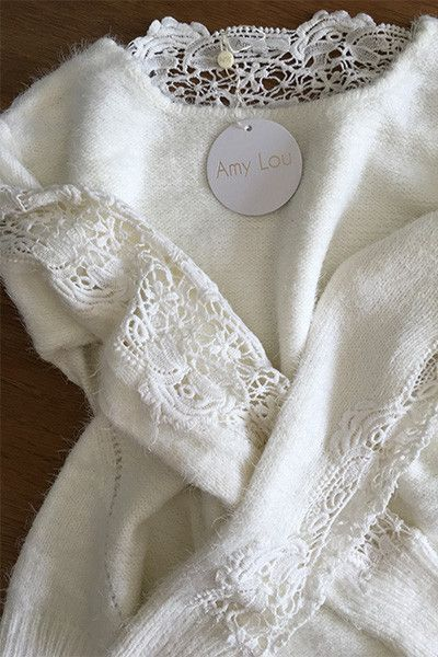 Pull blanc guipure Amy Lou
