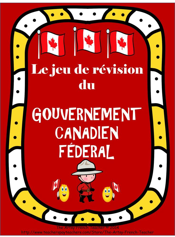 Le Jeu de Révision du Gouvernement Canadien Fédéral includes 36 question and answer cards EN FRANÇAIS (ALSO AVAILABLE IN ENGLISH in my TPT store), a colour and a black and white game board with instructions.  TPT $.
