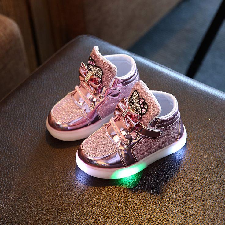 Обувь для девочек Детские Крюк Петля Дети Загораются Светодиодные Светящиеся Обувь Мальчики Светящиеся Кроссовки Маленьких Детей Девочек Принцесса с огнями #shoes, #jewelry, #women, #men, #hats, #watches, #belts