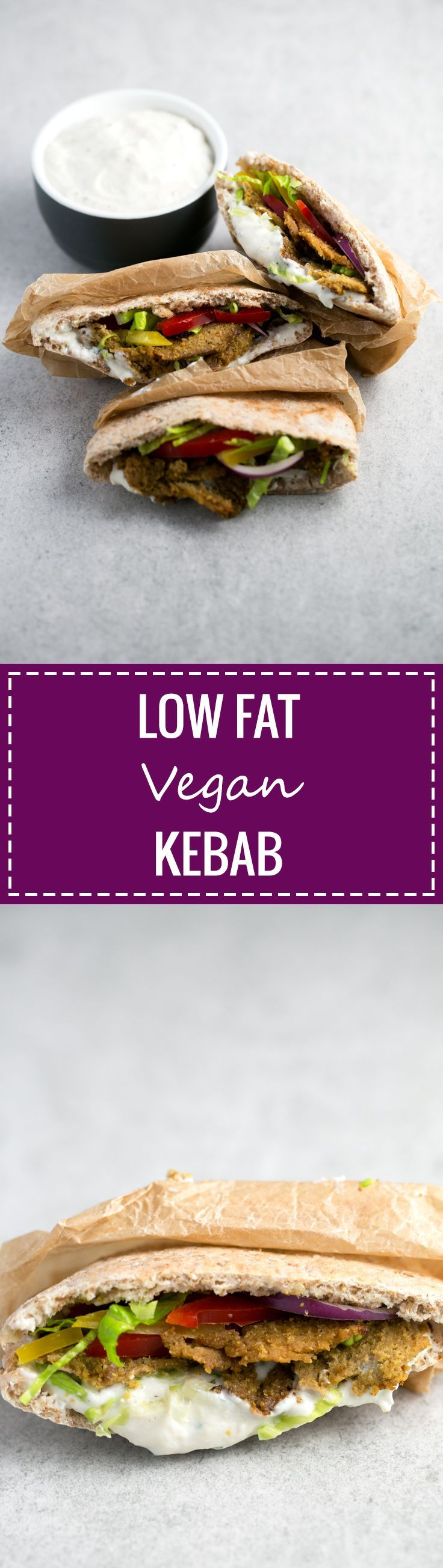 This low fat vegan kebab is perfect for people who miss the taste of meat, are trying to eat less meat or going vegetarian or vegan. It's an EPIC recipe!