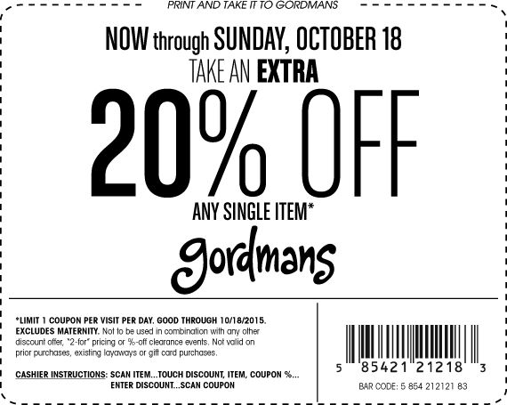 Pinned October 15th: 20% off a single item at #Gordmans #coupon via The #Coupons App