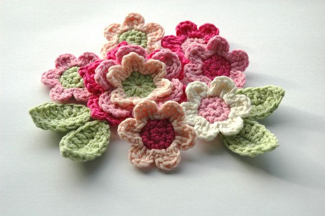 Pink and Green Crochet Applique