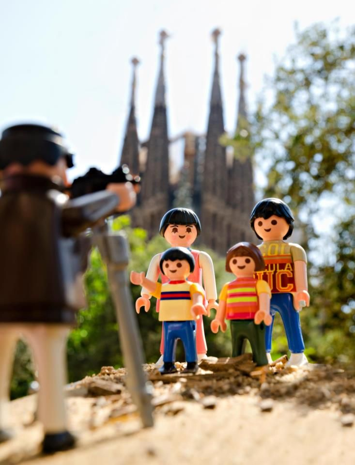 Playmobil family posing in Barcelona!