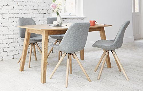 Eames Grey Fabric 4 Seater Dining Set With Oak Table Kitchen
