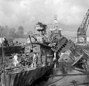 Aftermath of the Pearl Harbour attack by the Japanese.