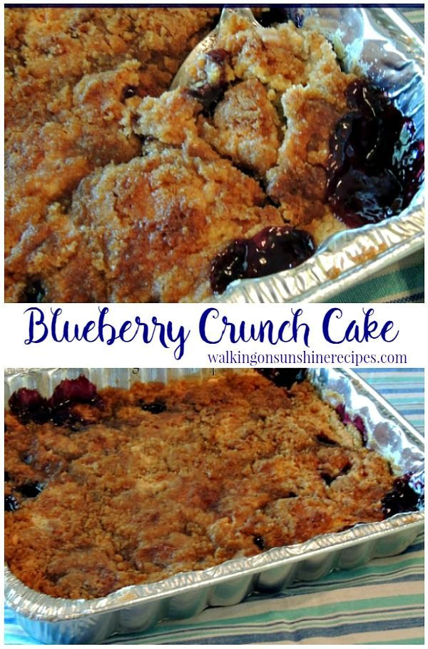 Blueberry Crunch Cake from Walking on Sunshine Recipes.  Easy and Delicious recipe that uses a cake mix!