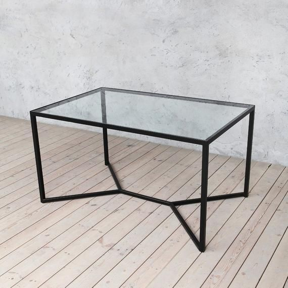 Tower Industrial Style Solid Glass Metal Dining Table Modern Urban