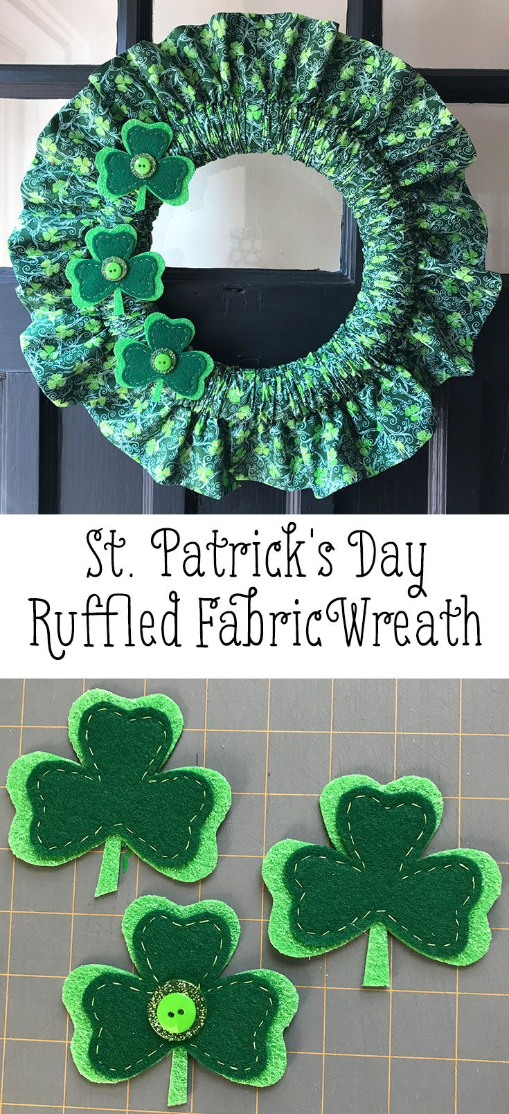 St. Patrick's Day Holiday Fabric Wreath Tutorial. Make a cute ruffled fabric wreath in two hours or less. Quick and easy!