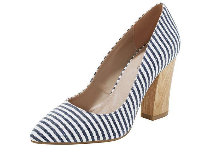 Pantofi De Damă HEINE #Pantofi_De_Damă #stripe_shoes #stripe_heels #high_heels #heel_fashion