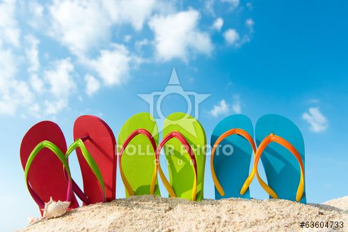 http://www.dollarphotoclub.com/stock-photo/Row of colorful flip flops on beach against sunny sky/63604733 Dollar Photo Club millions of stock images for $1 each
