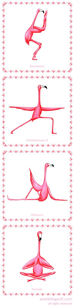 Four Pink Flamingo yoga prints, flamingo yogis