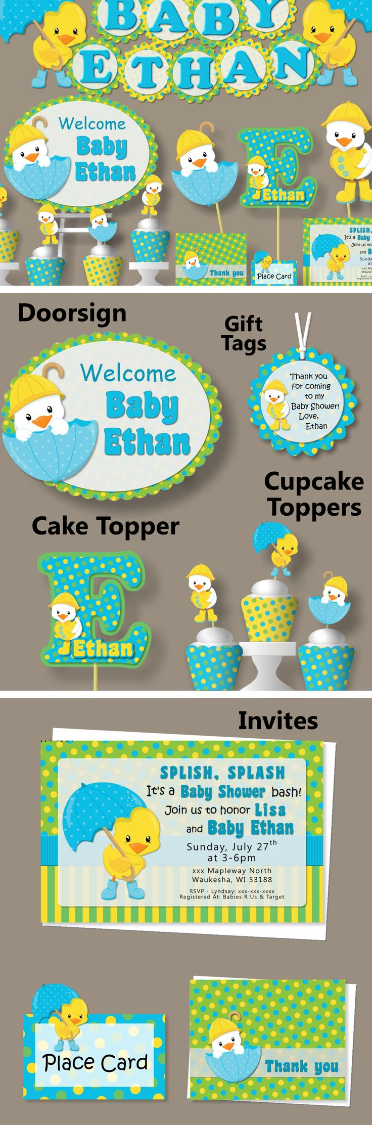 Duck Baby Shower or First Birthday Party Decorations - Invitation, Banner, Blue Green, Cake Topper, Cupcake, Package, Favor #bcpaperdesigns