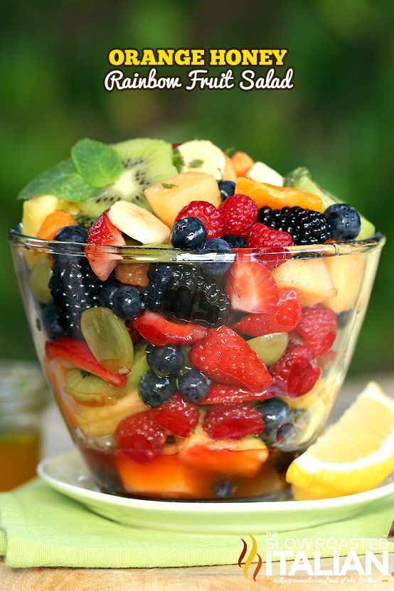 This orange honey rainbow fruit salad recipe is like a party for your senses.  The orange honey dressing includes a secret ingredient that brings this salad to life. #fruit #salad #summer CLICK FOR RECIPE --> http://www.theslowroasteditalian.com/2014/05/orange-honey-rainbow-fruit-salad-recipe.html
