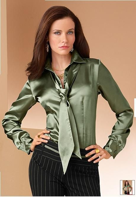 Tie neck satin blouse: