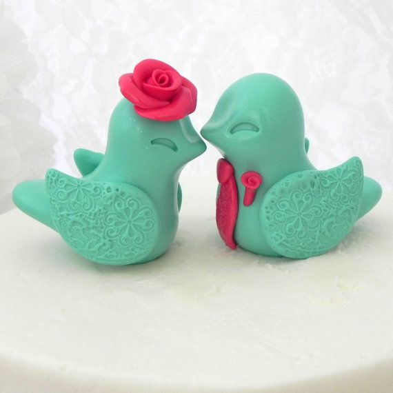 Wedding Cake Topper Love Birds Mint Green and Coral by LavaGifts, $62.00