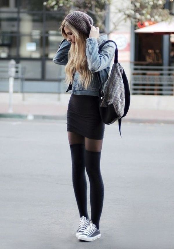 Do you want to have that schoolgirl look for fall without having to wear schoolgirl skirts? This look uses a mini black pencil skirt instead with thigh high stockings and sneakers to tone down the mature look. You can also add a beanie for effect while wearing your favorite denim jacket.