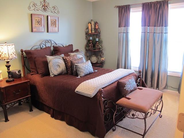 Beautiful Aqua And Brown Bedroom.