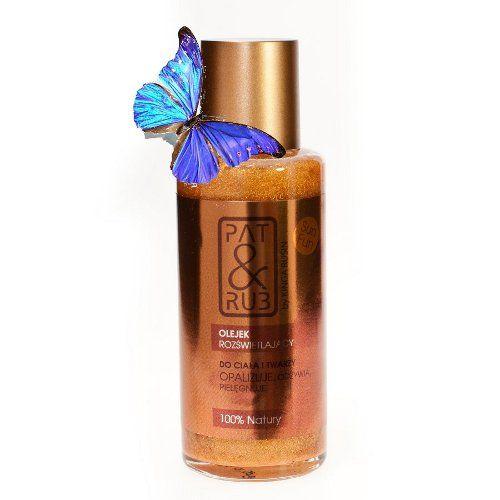 Olejek Rozświetlający SUN FUN PAT & RUB to prawdziwa uczta dla skóry twarzy i dekoltu.Nawilża, regeneruje i chroni skórę, a złote i miedziane drobinki miki dodają skórze słonecznych refleksów.