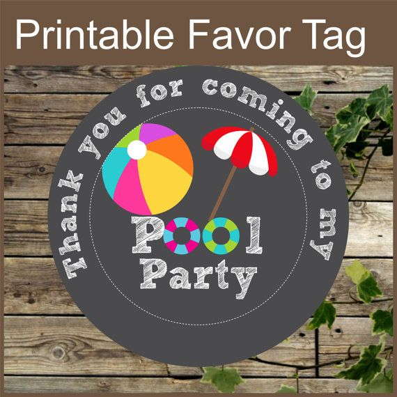 Pool Party Favor Tags Printable Chalkboard Pool by IsiDesigns More More