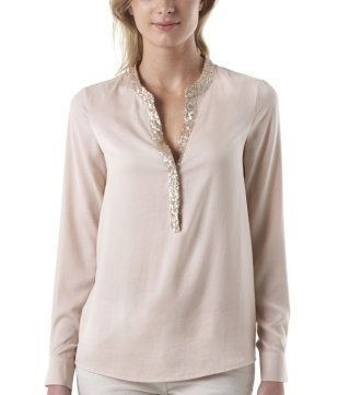 Sequins trim blouse light pale pink - Promod