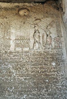 Akhenaten, Nefertiti and their two eldest daughters worshipping Aten, relief, Akhenaten's Royal necropolis, Tell el-Amarna, Egypt. Egyptian Civilisation, New Kingdom, Dynasty XVIII.