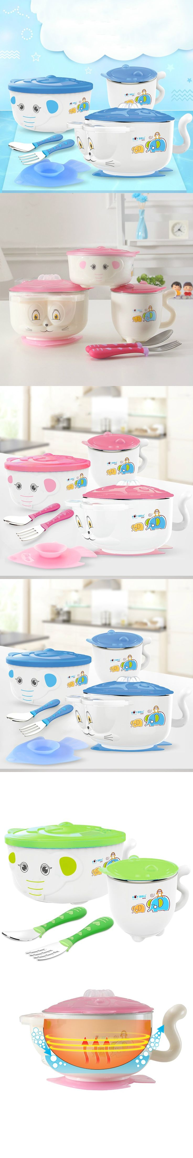 Baby Children Tableware Set Baby Feeding Bowl Food Container Stainless Steel Lunch Box Heat Preservation Bowl with Sucker C01 $37