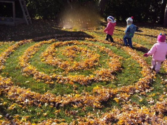 fall leaf labyrinth - happy hooligans - leaf maze - fall activities