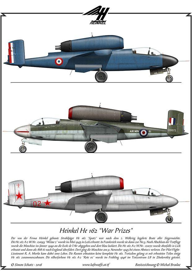 Heinkel He 162 catturati intatti a fine guerra prestano servizio nella Aviazione Francese, nella R.A.F. e Nell'Aviazione dell'Armata Rossa.