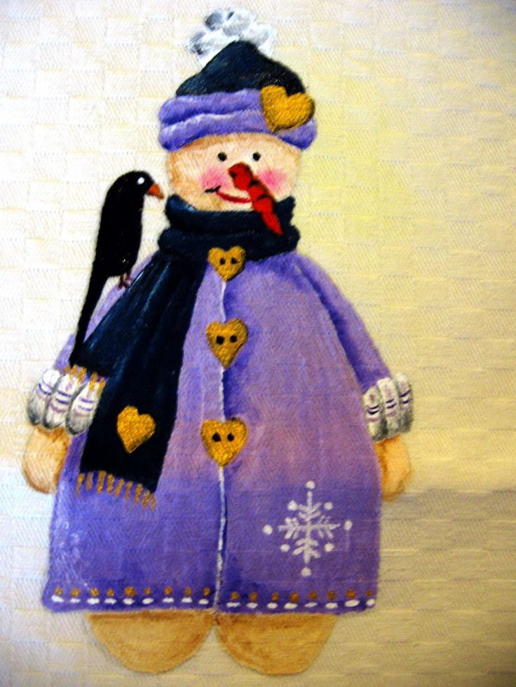 Natale country painting - pupazzo di neve in lilla