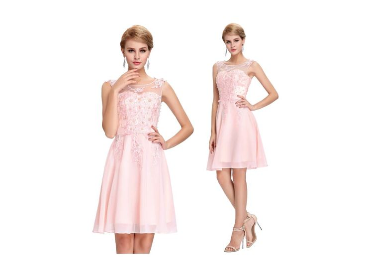 Růžové koktejlové šaty, SKLADEM - Bestmoda - pink prom homecoming dress with pearls and embroidery
