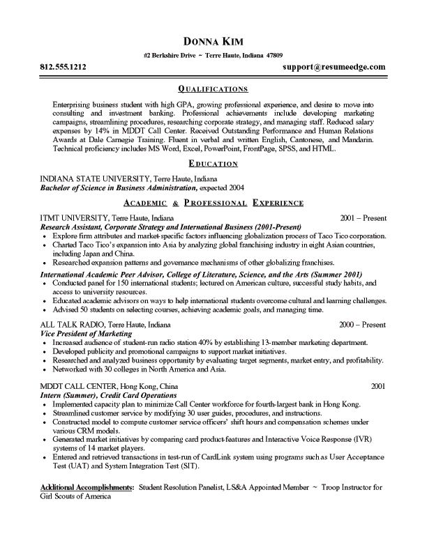 examples of business resumes business administration resume