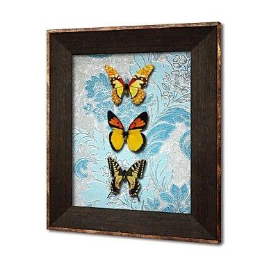 omlijst 3d kunst kunst aan de muur, dier 3d vlinders op gesatineerd papier 3d muur opknoping met bruine ps kader - EUR € 58.17
