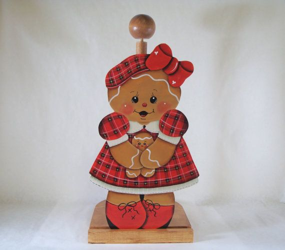 Gingerbread Paper Towel Holder  Interchangeable Inserts by ByBrendasHand on Etsy - Designed by Pamela House