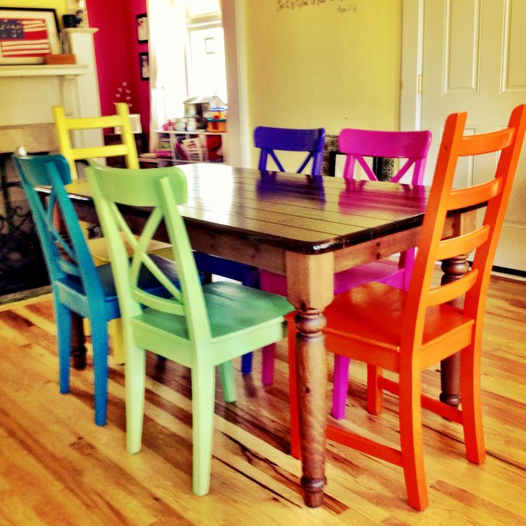 Best 25 painted chairs ideas only on pinterest hand painted chairs painted kids chairs and - Colorful dining room tables ...