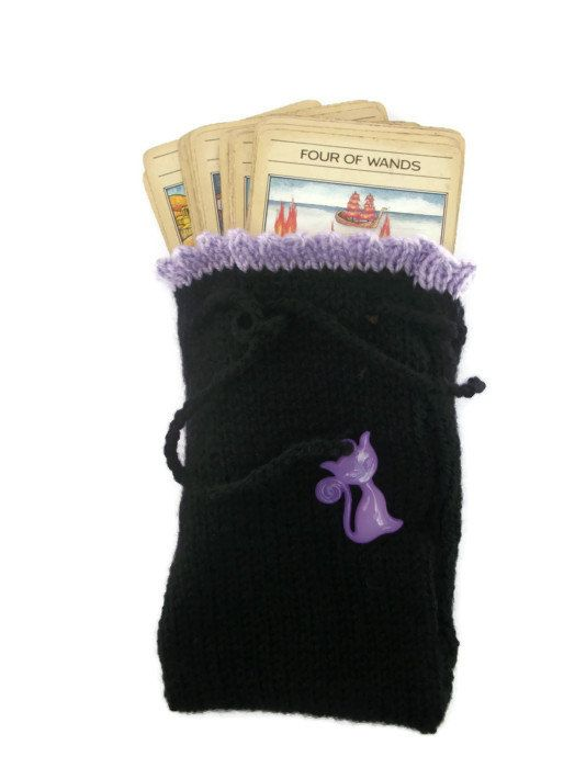 Tarot Card Bag Pouch. Hand Knit Crafted by thekittensmittensuk, £11.00