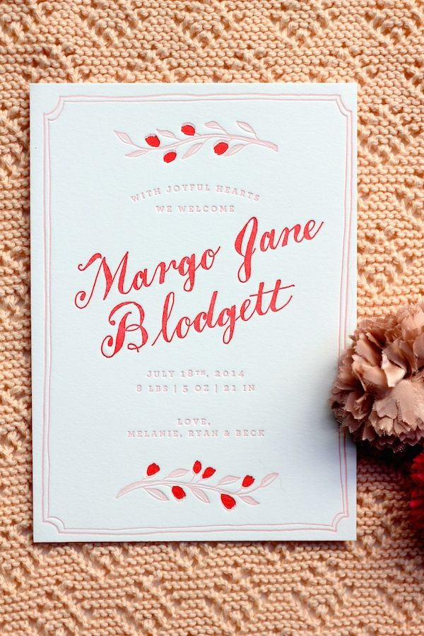 Birth announcement design and printing by Sycamore