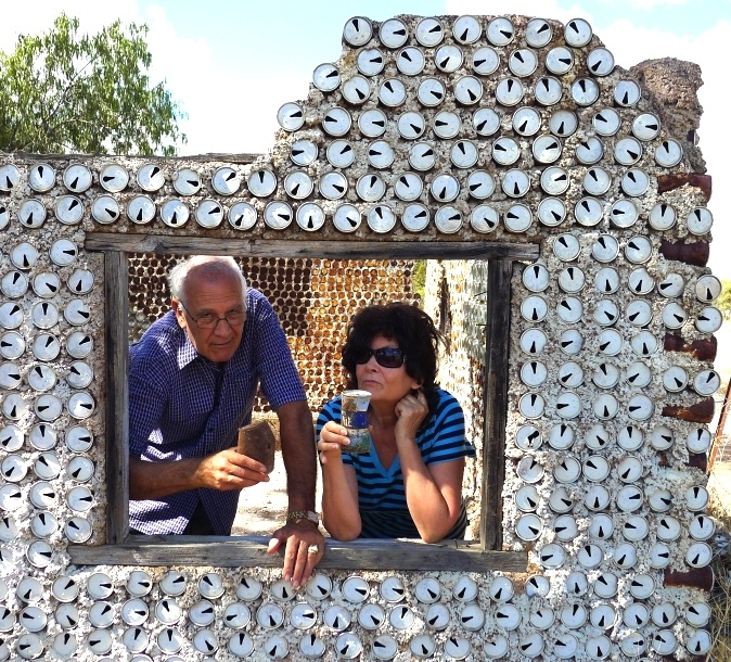 House made from tin cans near the first opal mine found at Lightning Ridge - Peter & Renate. Good spot for a cuppa