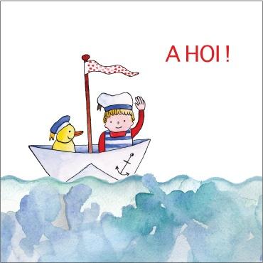 origineel illustratie geboortekaartje bootje op zee  met eendje en matroos