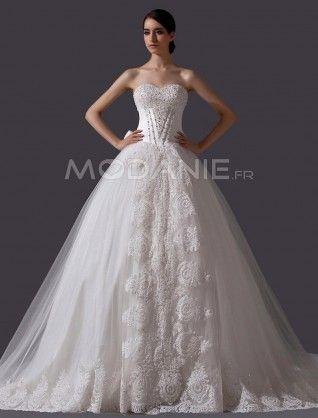 Paillette nœud papillon robe de mariée romantique empire organza satin traîne cathédrale