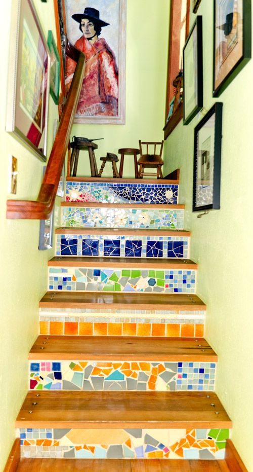 Mosaic On The Stair Risers   Beautiful!