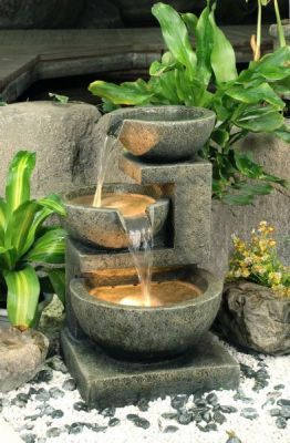 62cm kendal 2 tier terracotta cascade water feature with lights by ambient - Garden Design Kendal