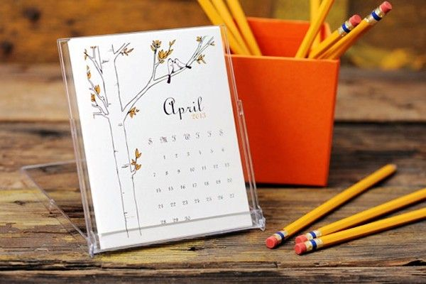 2014 Desk Calendar - Illustrations Sampler Design Variety Femanine Desktop Stand