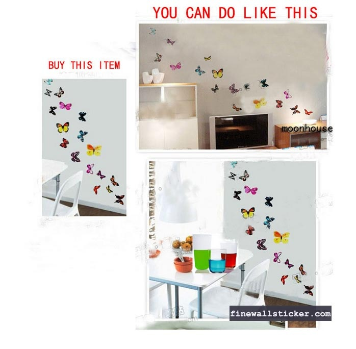 Butterflies Mural Art Wall Stickers, Fine wall sticker