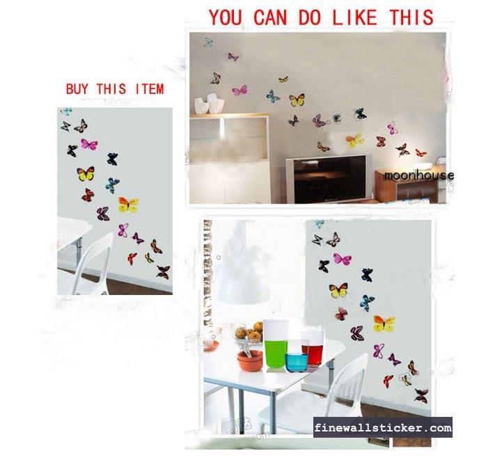 Butterflies Mural Art Wall Stickers, Fine wall sticker