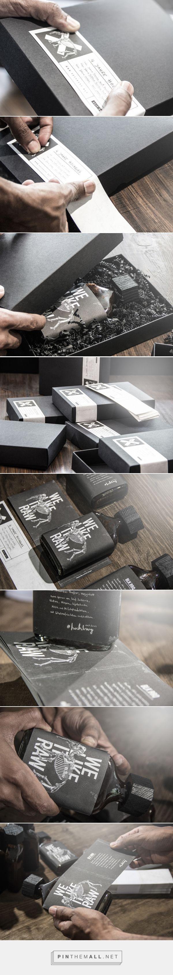 Brennstoff on Behance by Hochburg Design, Stuttgart, Germany curated by Packaging Diva PD.  Limited. Black. Raw. Die Hochburg Essenz als BBQ Sauce branding packaging.  Black und lecker.