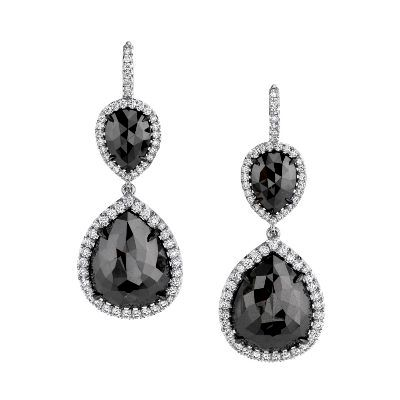 11.44 Carat Black Diamond Pear Shape Dangle Earrings Set In 14k White Gold